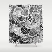 doodle Shower Curtains featuring Doodle by Anchobee