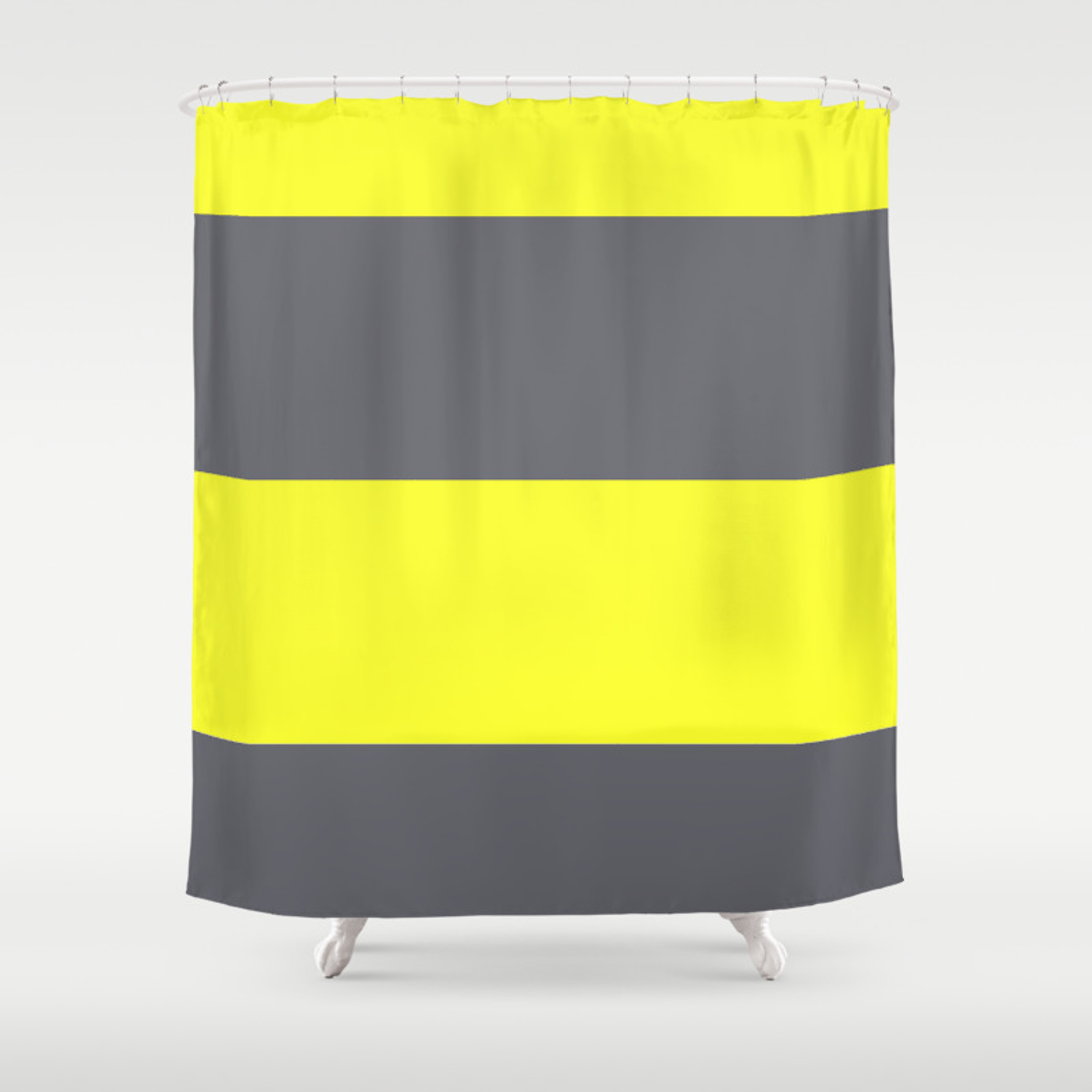 Yellow And Gray Horizontal Stripes Shower Curtain