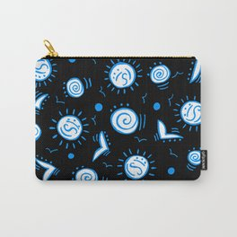 Doodle Drawing Seagulls Shells Sun - Black Blue White Carry-All Pouch