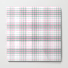 Gingham pink and forest green Metal Print