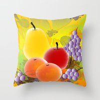 fruit Throw Pillows featuring Fruit by Ramon J Butler-Martinez
