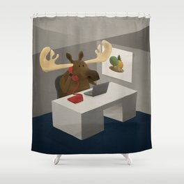 Maurice, the moose who wanted to work in an office Shower Curtain