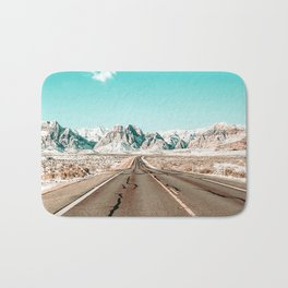 Vintage Desert Road // Winter Storm Red Rock Canyon Las Vegas Nature Scenery View Bath Mat