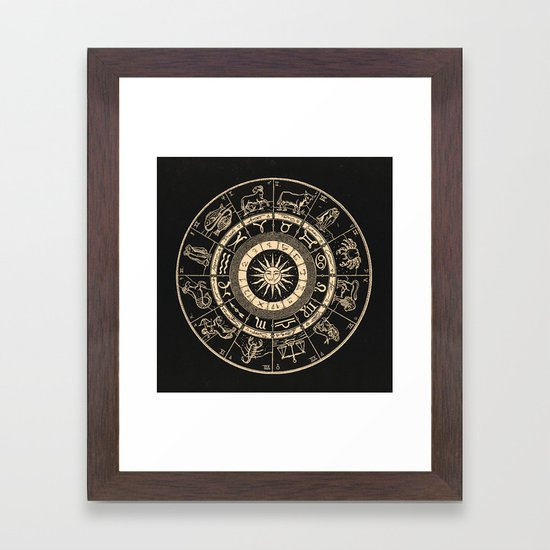 Vintage Zodiac & Astrology Chart   Charcoal & Gold by danieljohndesign