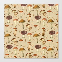Wild Forest Mushroom Pattern Canvas Print
