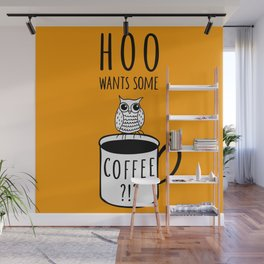 Coffee poster with owl Wall Mural