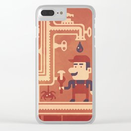 Mario at work Clear iPhone Case