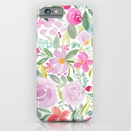 Modern pink purple loose floral watercolor painting iPhone Case