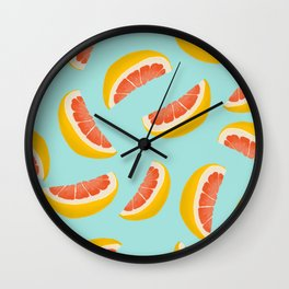 Citrus fruit seamless pattern digital illustration  Wall Clock