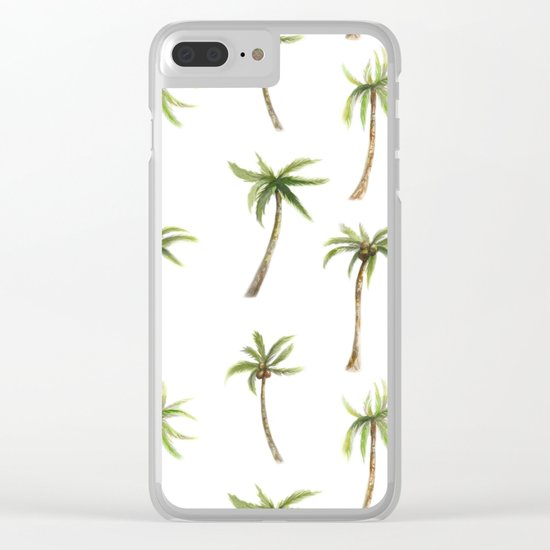 Watercolor palm trees pattern Clear iPhone Case