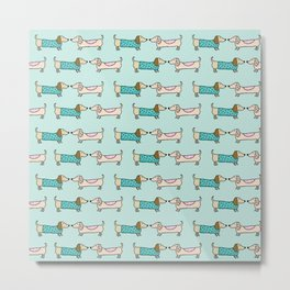 Cute dachshunds pattern Metal Print