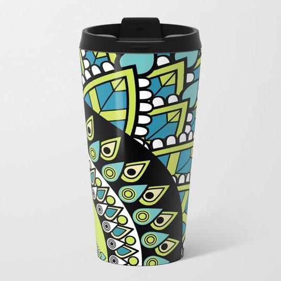 Petrichor Blue & Green Leaf Patterned Mandala Metal Travel Mug