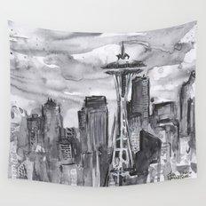 Seattle Skyline Watercolor Space Needle Washington PNW Wall Tapestry