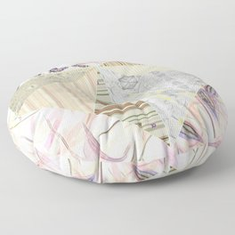 Soft Pink & Yellow Scrapbook Collage Quilted Heart (Tile #1) Floor Pillow