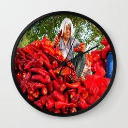 Turkish Woman Preparing Red Peppers Wall Clock