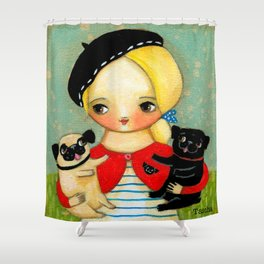 French girl with black pug and fawn pug Shower Curtain
