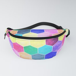 Honeycombs print, colorful hexagons Fanny Pack