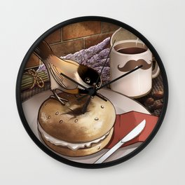 The Bagel Thief Wall Clock