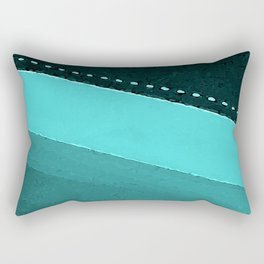 Blue and Black Stripes: Dotted Line Rectangular Pillow