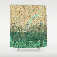 cincinnati Shower Curtains featuring cincinnati city skyline by Bekim ART