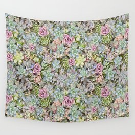 Succulent Pastel Wall Tapestry
