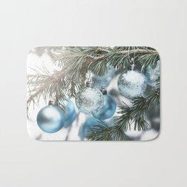 Blue Christmas baubles on tree Bath Mat