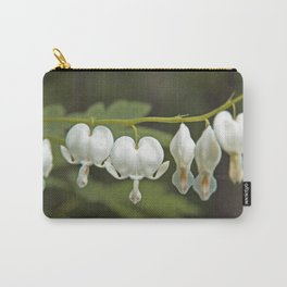 White Bleeding Hearts with Green Carry-All Pouch