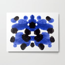 Periwinkle Purple Blue And Black Ink Blot Diagram Metal Print
