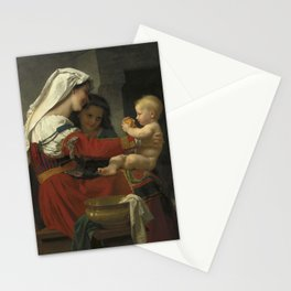 "William-Adolphe Bouguereau ""Admiration maternelle - le bain"" Stationery Cards"