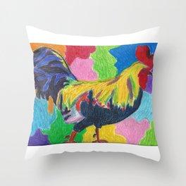 Rainbow Cluck Throw Pillow