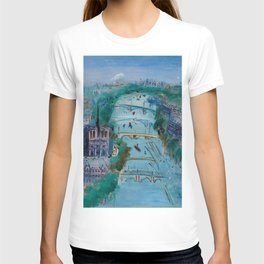 River Seine, Paris, France in Moonlight landscape painting wall decor by Jéan Dufy T-shirt