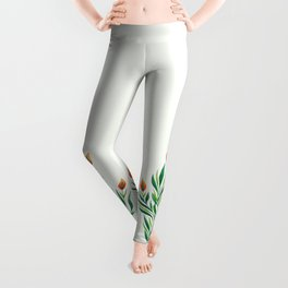 Abstract Green Plant With Orange Buds Leggings