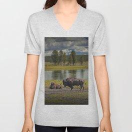 Buffalo by Yellowstone River Unisex V-Neck