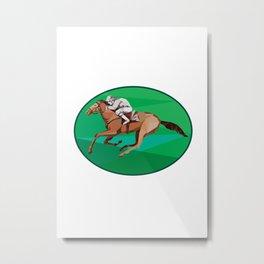 Jockey Horse Racing Oval Low Polygon Metal Print