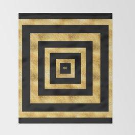 ART DECO SQUARES BLACK AND GOLD #minimal #art #design #kirovair #buyart #decor #home Throw Blanket