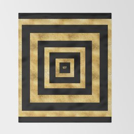 ART DECO SQUARES BLACK AND GOLD #minimal #art #design #kirovair #buyart #decor #home Throw Blanket