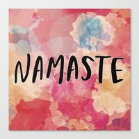 namaste Canvas Prints featuring Namaste by Laura Santeler