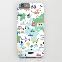 Travel The World Trains Planes Cars Trucks Map iPhone Case