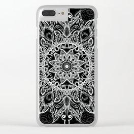 White Mandala on black Clear iPhone Case
