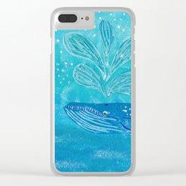 Blue Whale Spout Clear iPhone Case