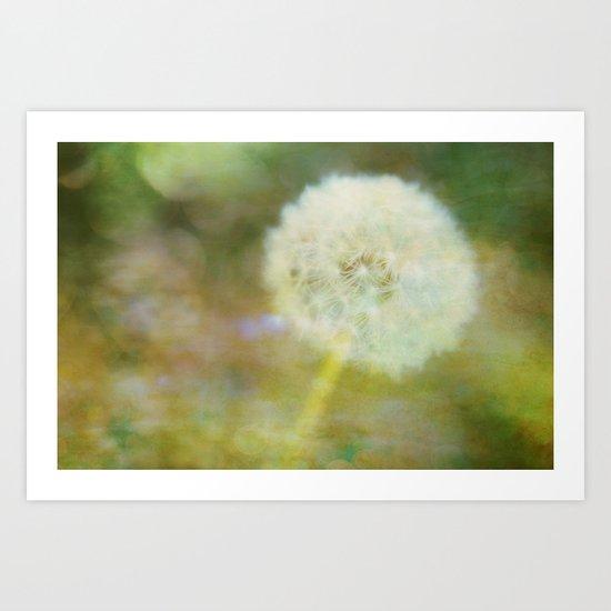 Dandelion Wishes Yellow Art Print