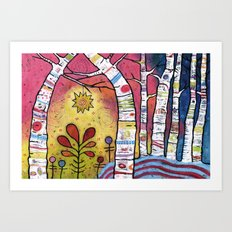 Magical Aspen Forest - Leaning into Starlight Art Print