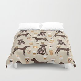 German Shorthair Pointer dog breed custom pet portrait coffee lover pet friendly gifts Duvet Cover