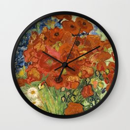 """Vincent van Gogh """"Still Life, Vase with Daisies, and Poppies"""" Wall Clock"""