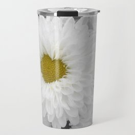 Blooming white chrysanthemum flower with heart shaped center. Selective Color. Travel Mug