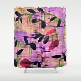 Purple Garden. Purple, Vines, Garden, Flowers, Green, Abstract, Jodilynpaintings Shower Curtain