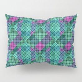 Turquoise green plaid Pillow Sham