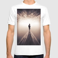 The Sky is getting closer MEDIUM White Mens Fitted Tee