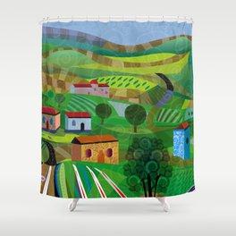 Santa Barbara Wine and Cheese Shower Curtain