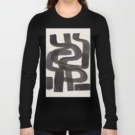 Black Ink Paint Brush Strokes Wiggles Mid Century Modern Long Sleeve T-shirt